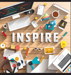 Top view desk prepare working for text inspire vector