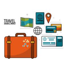 Travel around the world suitcase passport ticket vector