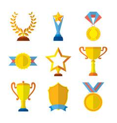 Trophy icons flat set medallion success award vector