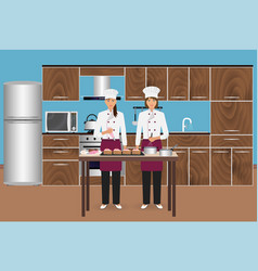 Two young women confectioners cooking desserts vector