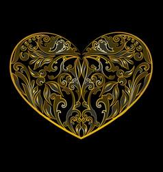 Valentines heart art deco outline floral vector