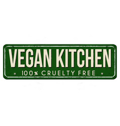 Vegan kitchen vintage rusty metal sign vector
