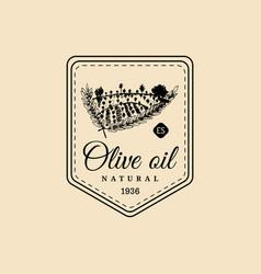 vintage olive oil logo retro emblem vector image
