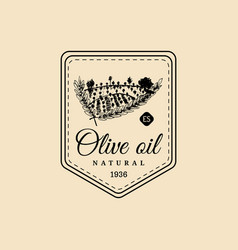 vintage olive oil logo retro emblem with vector image