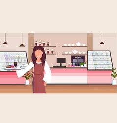 Waitress holding tray with cake and cappuccino vector