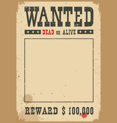 Wanted poster western on white vector