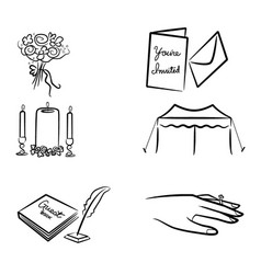 Wedding elements art icon collection vector