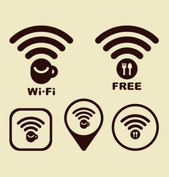 Wi-fi icons for cafe and restaurants vector