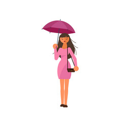 woman holding umbrella under the rain vector image