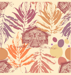 Wooden cabin in the autumn forest seamless pattern vector