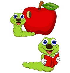 Worm cartoon reading book vector image