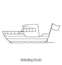 Yacht cartoon coloring book vector image