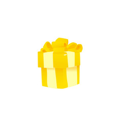 Yellow gift package tied with ribbon and big lush vector