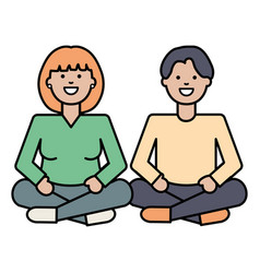young lovers couple with lotus position characters vector image