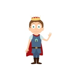 Young prince standing and waving cartoon vector image