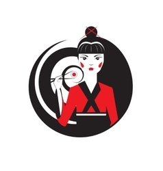 Beautiful oriental girl holding sushi maki with vector image