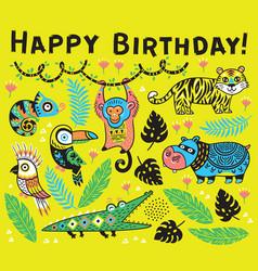 cute happy birthday card with cartoon animals in vector image vector image