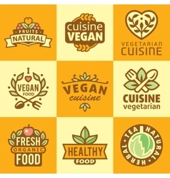 Fresh Organic Labels and Elementsicons vector image