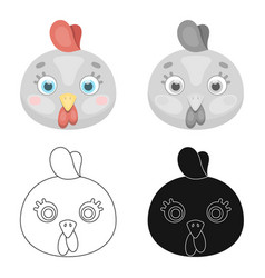 hen muzzle icon in cartoon style isolated on white vector image vector image