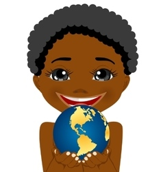 african american little boy holding earth globe vector image vector image