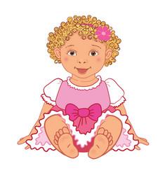 baby girl in pink dress happy princes vector image