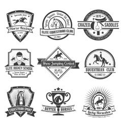 Equestrian Sport Emblems Set vector image vector image