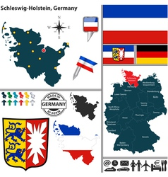 Map of Schleswig Holstein vector image vector image