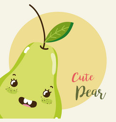 cute fruit kawaii cartoon vector image vector image
