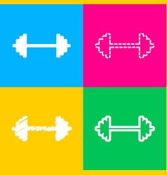 dumbbell weights sign four styles of icon on four vector image