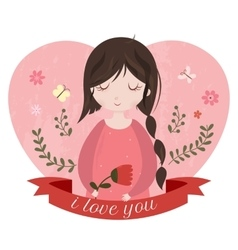 I love you card with adorable cartoon girl vector image vector image
