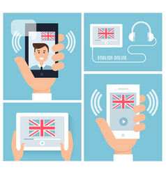 learning english with mobile technology and device vector image vector image