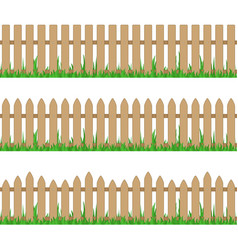 wooden fence with grass vector image
