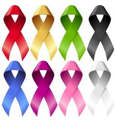 breast ribbons set vector image vector image