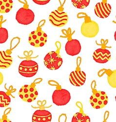 seamless cute watercolor pattern with Christmas vector image