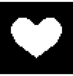 Sign pixel heart white flat 408 vector image vector image