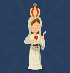 virgin mary sacred immaculate heart religion vector image