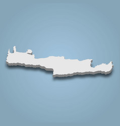 3d isometric map crete is an island in greece vector