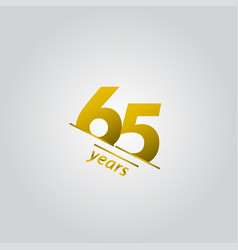 65 years anniversary celebration gold line vector