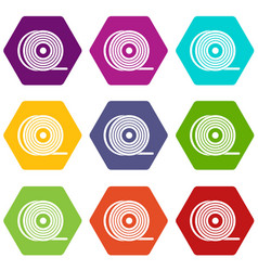 Abs or pla filament coil icon set color hexahedron vector