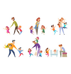 active kids big family tired parents playing with vector image