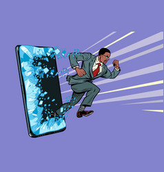 african businessman punches screen phone vector image