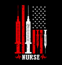 American nurse shirt flag nurse vector