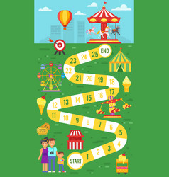 amusement park board game template for print vector image