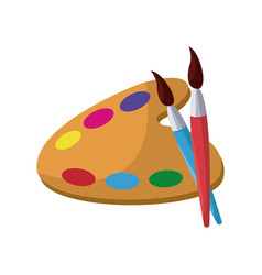 Art palette with paint brush and pencil tools for vector