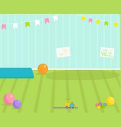 Baby room interior view babyroom decor vector