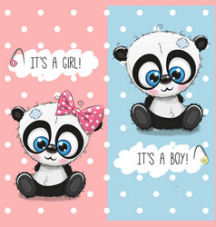 Baby shower greeting card with pandas boy and girl vector