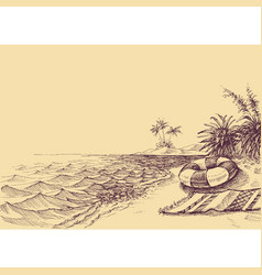 beach and sea drawing beach towel and life buoy vector image