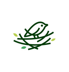bird nest leaf monoline logo icon vector image