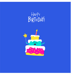 birthday cake for greeting card graphics vector image