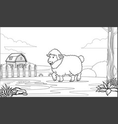 Black and white coloring page sheep in the farm vector